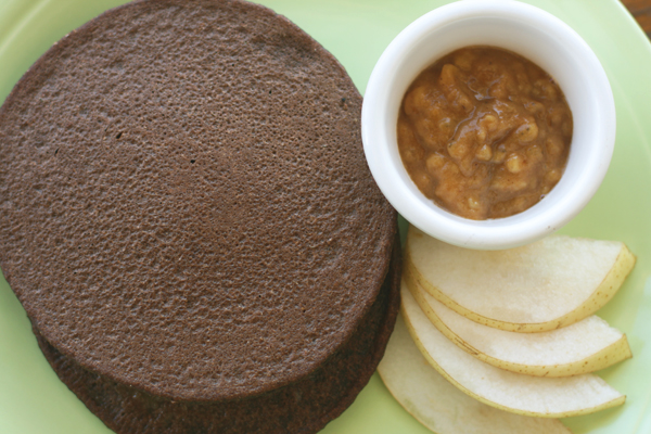 Chocolate Spelt Pancakes with Banana Compote